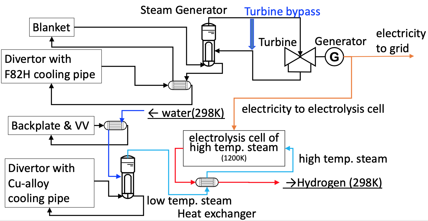 System diagram of plant concept to produce electricity and hydrogen in JA DEMO