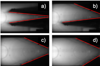 High-speed camera images with H$_{\alpha}$ filter of different target angle (a) 16 deg, (b) 30 deg, (c) 45 deg and (d) 55 deg. Red lines show the position of target plate.