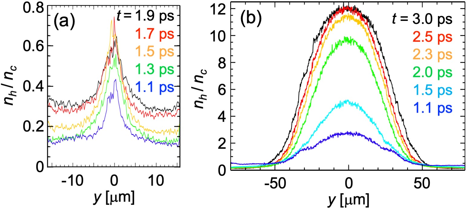 Time evolutions of fast electron density in the $5\,{\rm \mu m}$-thick foil in the (a) small spot (w = $1.4\,{\rm \mu m}$) and (b) large spot (w = $35\,{\rm \mu m}$) PIC simulations. The electrons are accumulated to the density of $12 n_c$ at the steady state in (b), which is $\sim 20$ times higher than that in (a).