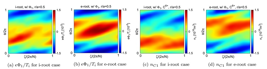 Profiles of normalised $\Phi_1$ and C$^{6+}$ density variation on the flux surface at $r/a=0.5$ for ion- and electron-root case, respectively. $\theta$ and $\zeta$ are poloidal and toroidal angles in the Boozer coordinates, respectively and $N=10$.