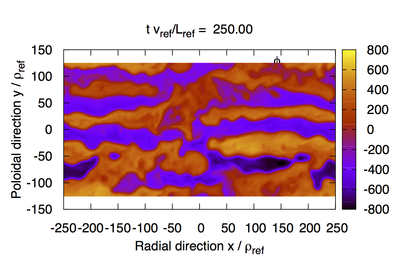 """Snapshot of the electrostatic potential obverted in the nonlinear saturation phase of the toroidal ETG turbulence in case with """"adiabatic"""" ions."""