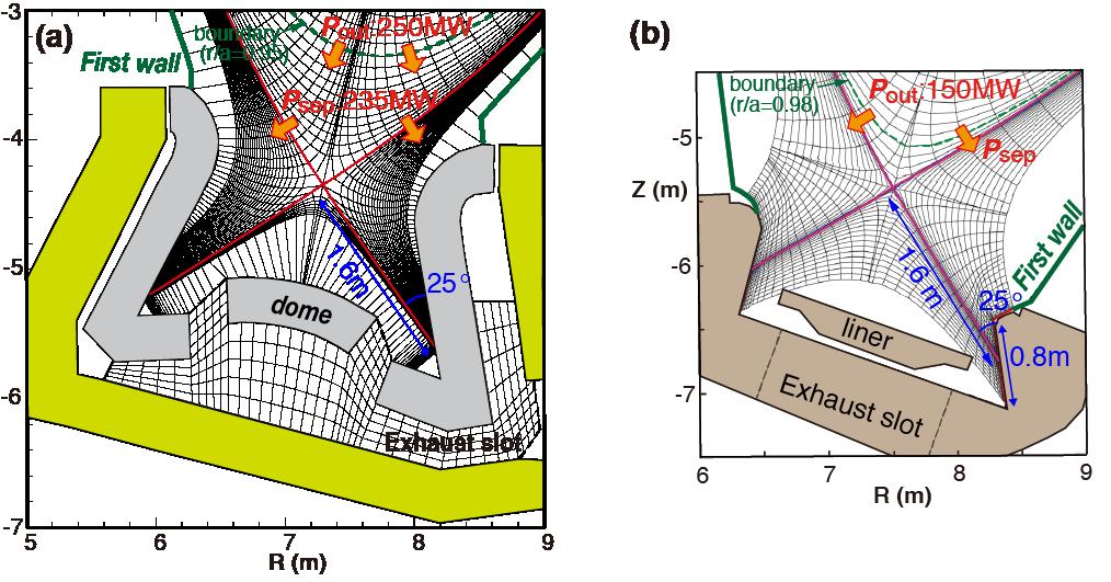 Divertor geometry and simulation mesh for (a) JA-DEMO, (b) EU-DEMO.