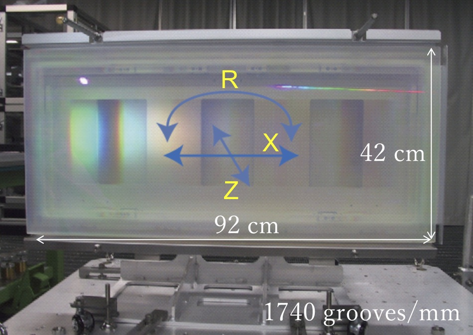 The world's first meter-size dielectric grating in joint collaboration with Okamoto Optics, Plymouth Grating Laboratory and Osaka university.