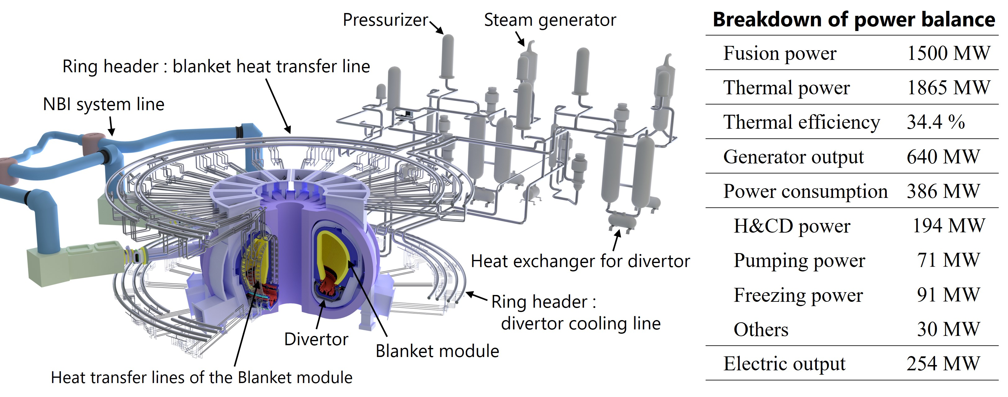 The primary heat transfer system and the breakdown of the power balance of JA DEMO plant.
